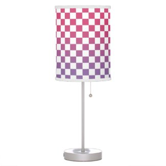 Modern Checkered Pink to Purple Gradient Pattern Table Lamp