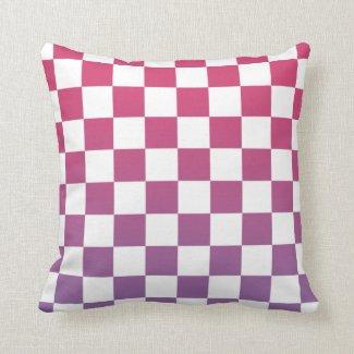 Modern Checkered Pink to Purple Gradient Pattern Throw Pillow