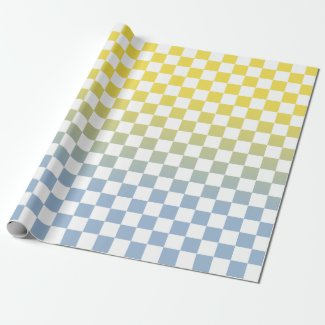 Modern Checkered Yellow to Blue Gradient Pattern Wrapping Paper