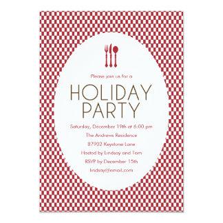 Modern Checkers Holiday Party Invitation Invites