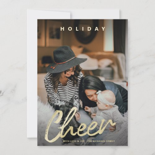 Modern Cheer Gold Brush Script Christmas Photo Holiday Card