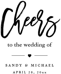 modern cheers calligraphy script wedding favor wine label