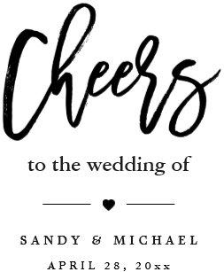 modern cheers calligraphy script wedding favor wine label