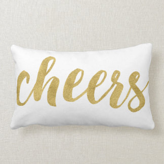 Modern Cheers In Gold Festive Holiday Decorative Lumbar Pillow