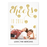 Modern cheers to 2015 gold New Year Groupon photo 5x7 Paper Invitation Card