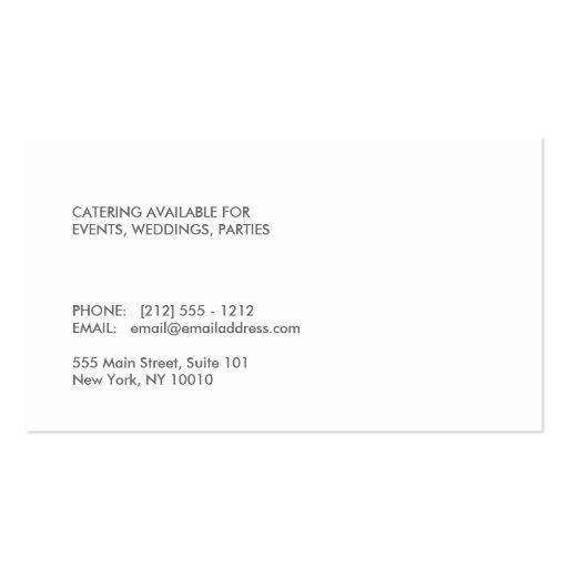MODERN CHEF HAT LOGO on BLACK WOOD Business Cards (back side)