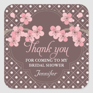 Modern Cherry Blossom Bridal Shower Thank You Square Sticker