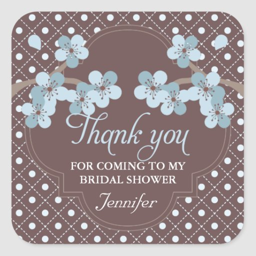 Modern Cherry Blossom Bridal Shower Thank You Square Stickers