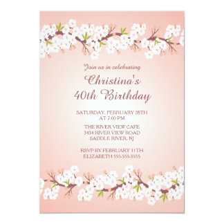 Modern Cherry Blossom Flower Floral Birthday Party Card