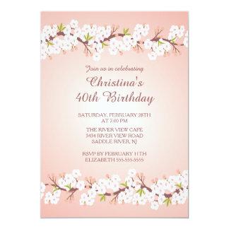 Modern Cherry Blossom Flower Floral Birthday Party Card