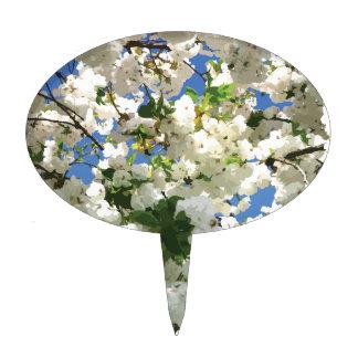 Modern Cherry Blossoms - Blue Sky Green Leaves Cake Topper