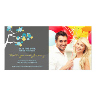 Modern Cherry Blossoms Love Birds Save The Date Card
