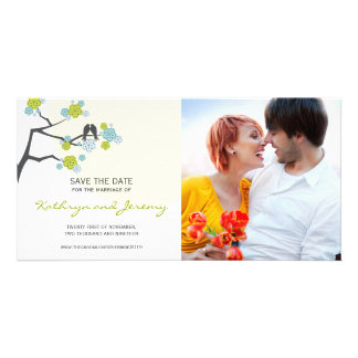 Modern Cherry Blossoms Love Birds Save The Date Photo Card