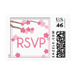 Modern Cherry Blossoms RSVP Wedding Postage Stamp