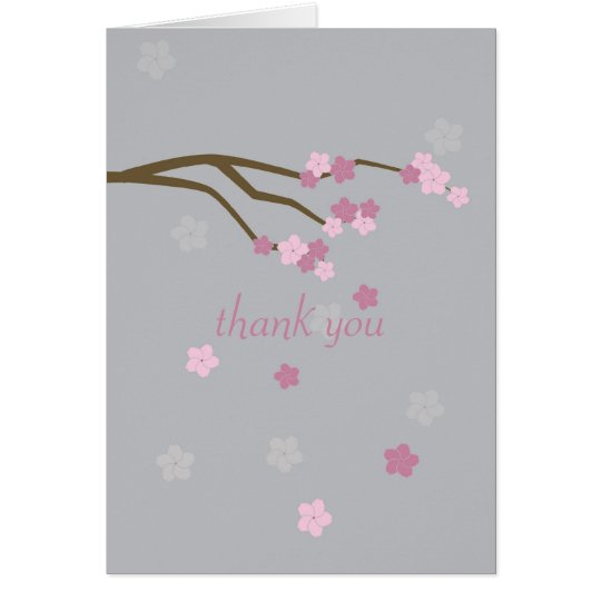 Modern Cherry Blossoms Thank You Card - grey