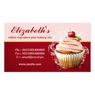 modern cherry cupcake business card