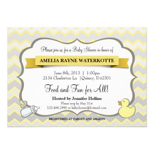 Modern Chevron Baby Animals Baby Shower Invitation