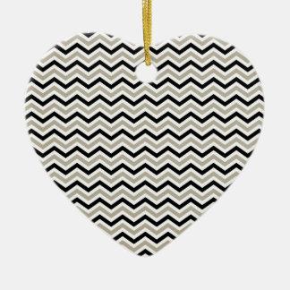 Modern Chevron Black and Sand Ceramic Ornament