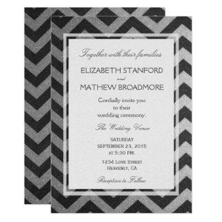 Modern Chevron Black and Silver Card