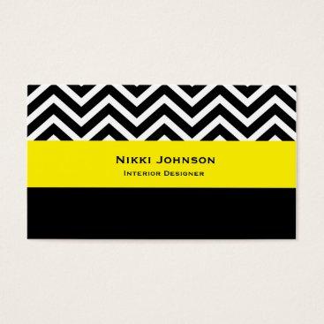 Professional Business Modern Chevron Black & Yellow Glam Business Card