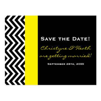 Modern Chevron Black & Yellow Save Date Postcard