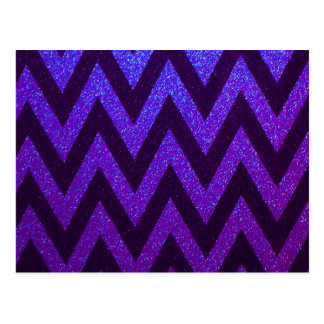 Modern Chevron Blue and Purple Postcard
