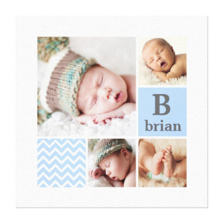 Modern Chevron Blue Personalized Photo Template Canvas Print