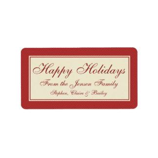 Modern Chevron Christmas Holiday Gift Label or Tag
