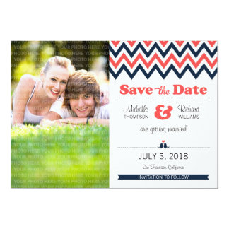 "Modern Chevron (Coral Navy) Save the Date Photo 5"" X 7"" Invitation Card"