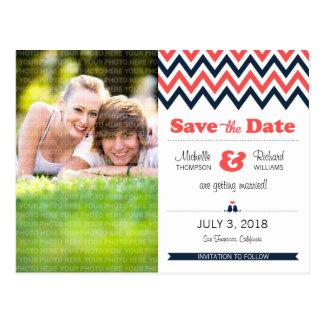 Modern Chevron (Coral Navy) Save the Date Photo Postcard