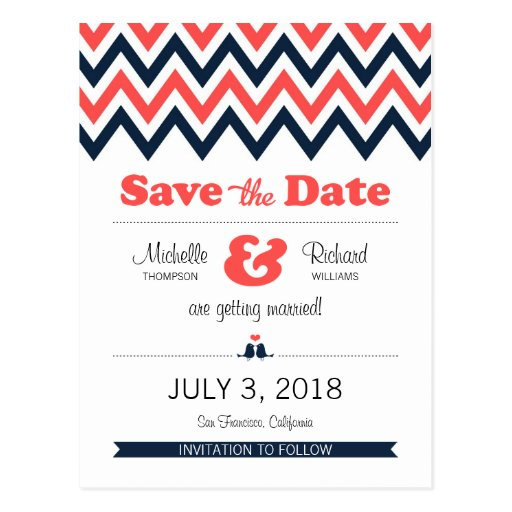 Modern Chevron (Coral & Navy) Save the Date Postcards