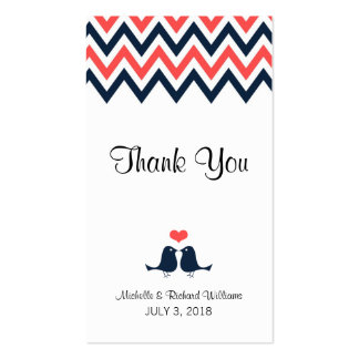 Modern Chevron (Coral Navy) Thank You Favor Tag Business Card Templates
