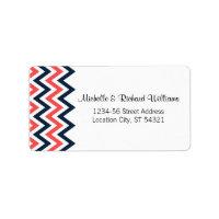 Modern Chevron (Coral & Navy) Wedding Address Custom Address Label