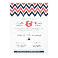Modern Chevron (Coral & Navy) Wedding Announcement