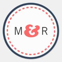 Modern Chevron (Coral & Navy) Wedding Monogram Sticker