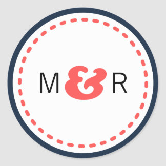 Modern Chevron (Coral & Navy) Wedding Monogram Classic Round Sticker
