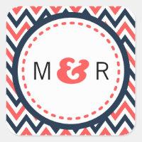 Modern Chevron (Coral & Navy) Wedding Monogram Stickers