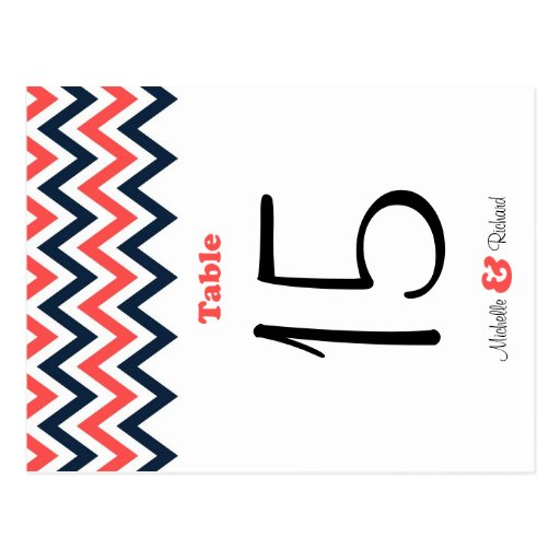Modern Chevron (Coral Navy) Wedding Table Number Postcard