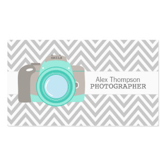 Modern Chevron DSLR Camera Photographer Business Double-Sided Standard Business Cards (Pack Of 100)