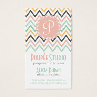 Modern Chevron Elegant Personalized Professional Business Card