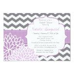 Modern Chevron Floral baby or bridal shower purple Card