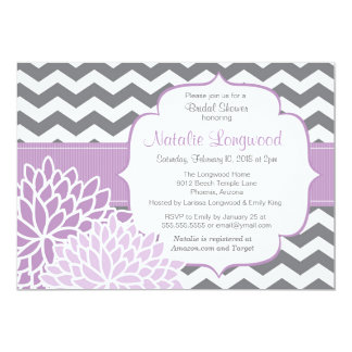 Modern Chevron Floral baby or bridal shower purple Card