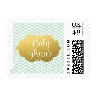 Modern Chevron Gold Mint Baby Shower Postage