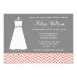 Modern Chevron Gown Coral Gray Bridal Shower Card