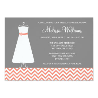 Modern Chevron Gown Coral Gray Bridal Shower Invitations