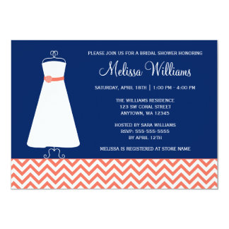 Modern Chevron Gown Coral Navy Blue Bridal Shower 4.5x6.25 Paper Invitation Card