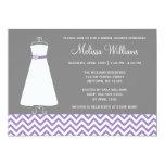 Modern Chevron Gown Purple Gray Bridal Shower Invites