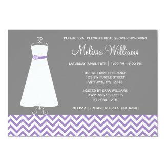 Modern Chevron Gown Purple Gray Bridal Shower 5x7 Paper Invitation Card
