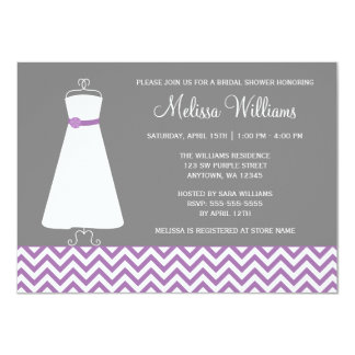 "Modern Chevron Gown Purple Grey Bridal Shower 4.5"" X 6.25"" Invitation Card"