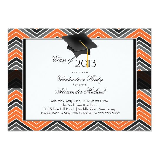 Modern Chevron GraduateTassel Graduation Party Card